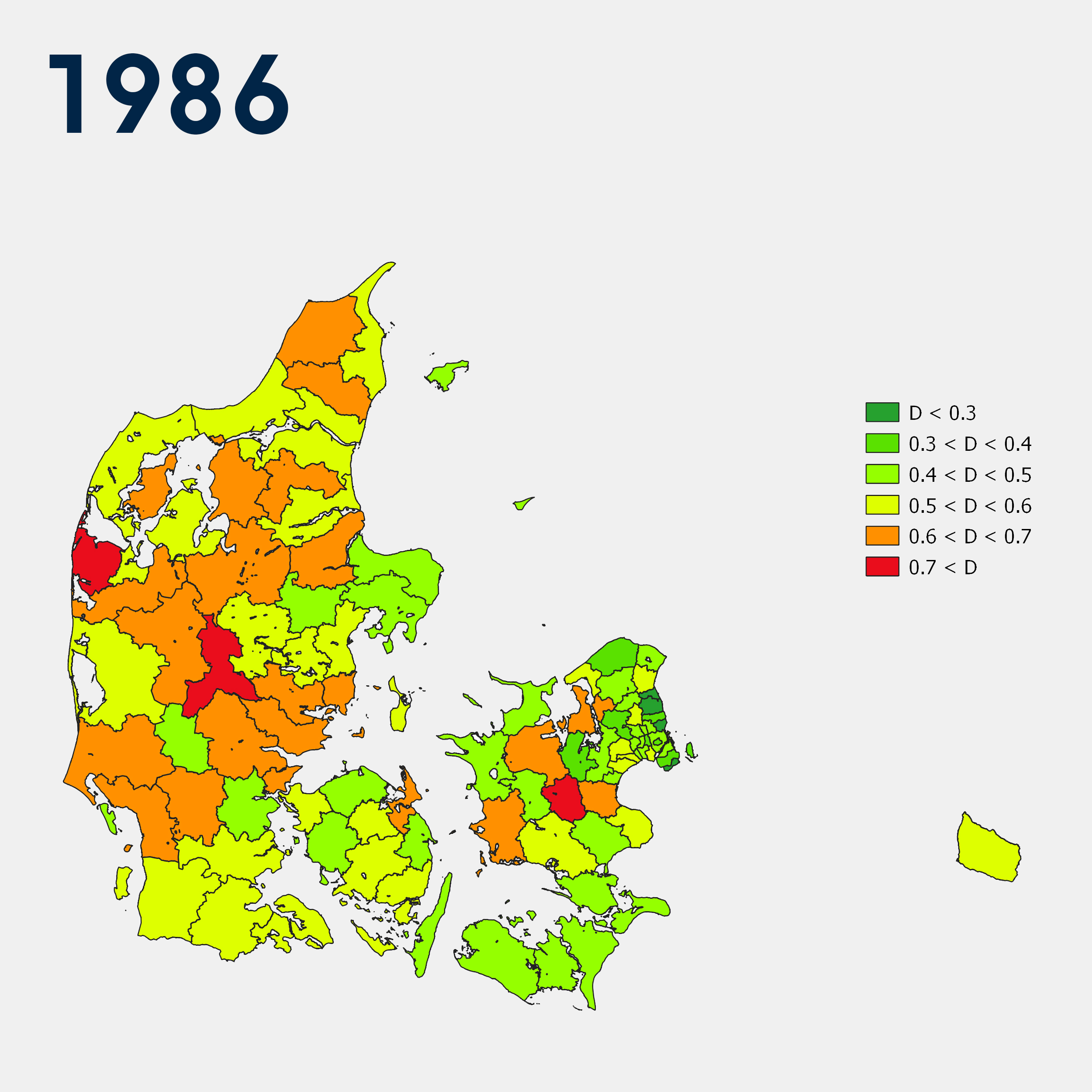 The maps show how segregated non-Western immigrants and descendants were living from other population groups in the Danish municipalities in 1986 and 2015.