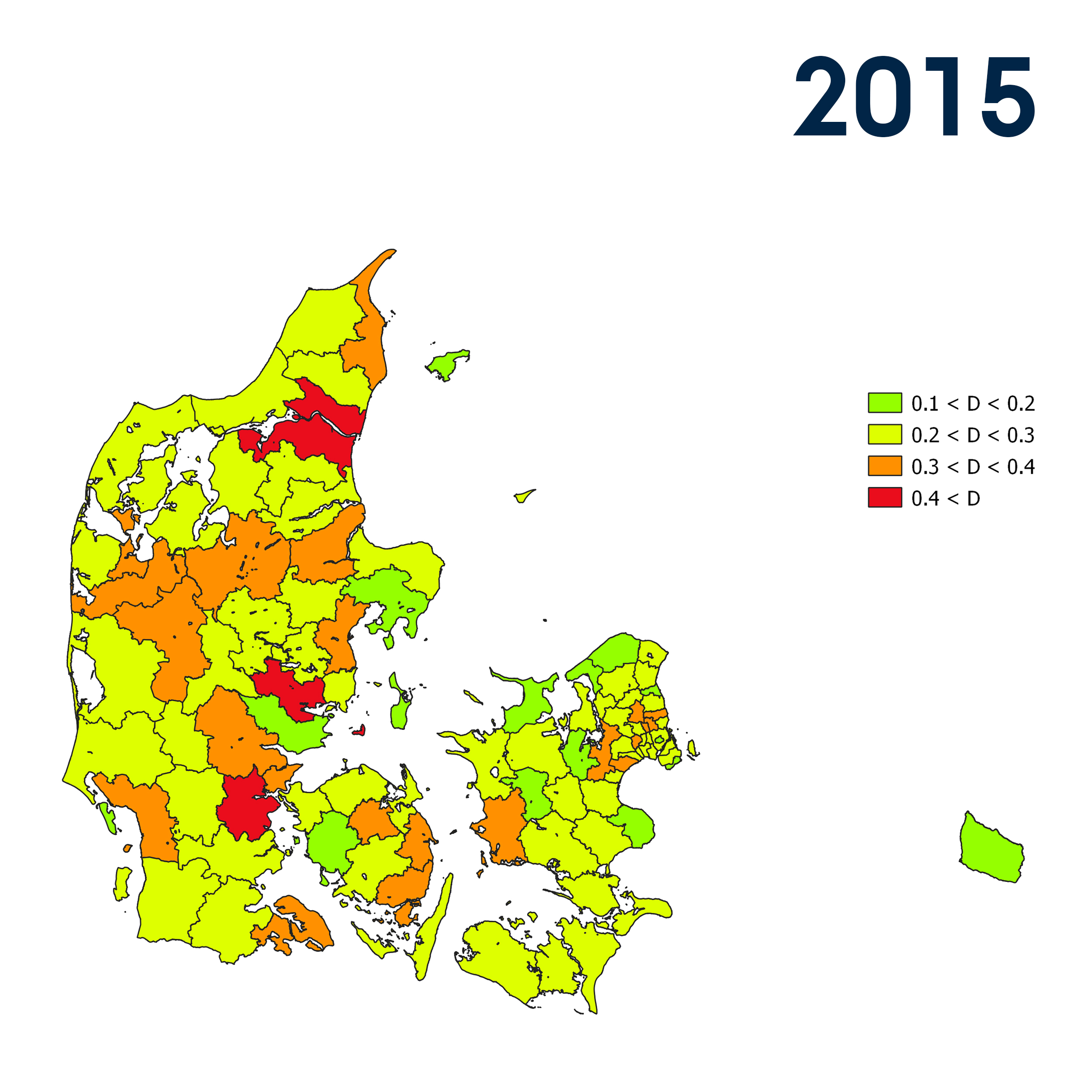 The maps show how segregated the lowest income households were living from other population groups in the Danish municipalities in 1988 and 2015.